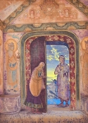 N. K. Roerich, The Messenger, 1922, Tempera auf Leinwand, N. Roerich International Centre-Museum Moscow